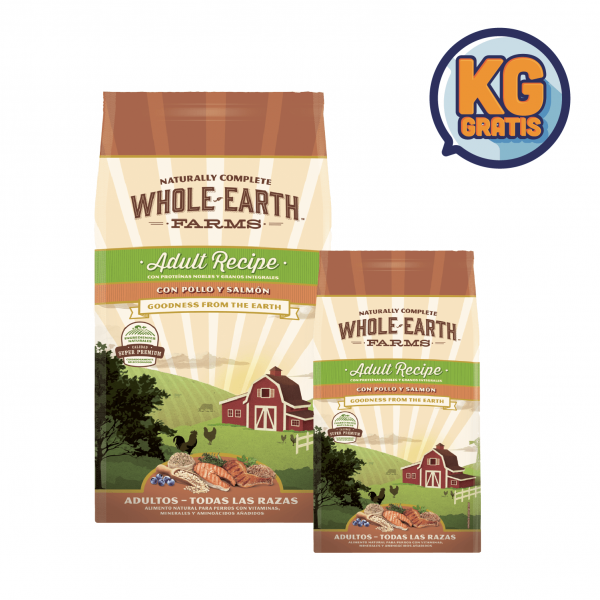 Whole Earth Farm Adulto Pollo y Salmon 12Kg + 6 Kg Gratis