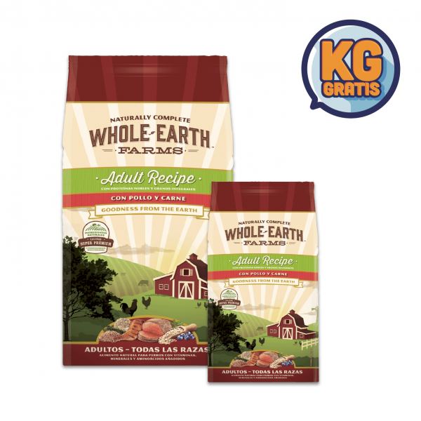 Whole Earth Farm Adulto Pollo y Carne 12Kg + 6 Kg Gratis