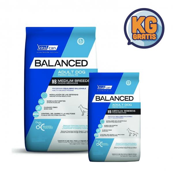 VitalCan Balanced Adulto Raza Mediana 20 kg + 3 Kg Gratis